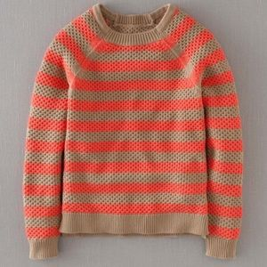 Boden Camel Coral Waffle Knit Fisherman Sweater